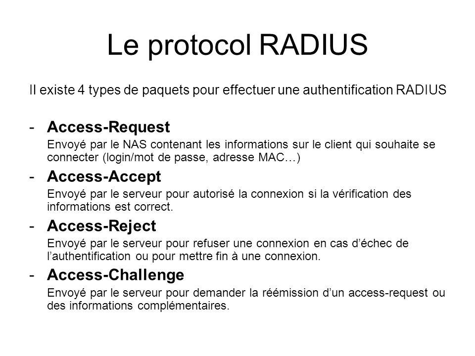Le protocol RADIUS Format des trames : Code (1 octet): 1 : access-request 2 : access-accept 3 : access-reject 4 : accounting-request 5 : accounting-response 11 : access-challenge Identifier (1 octet) : - Unique pour chaque authentification - Identique pour une retransmission Length (2 octets): - Taille total du message (de 20 à 4096 octets) Request Authenticator (16 octets): Un nombre aléatoire unique Response Authenticator (16 octets): MD5 (Code + ID + Length + RequestAuth + Attributes + Secret)