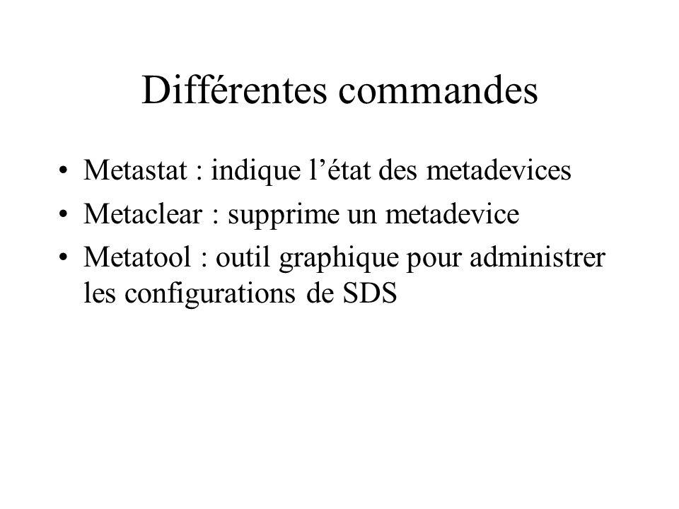 Différentes commandes Metastat : indique létat des metadevices Metaclear : supprime un metadevice Metatool : outil graphique pour administrer les configurations de SDS