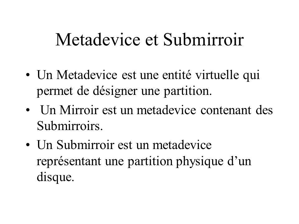 Metadevice et Submirroir Un Metadevice est une entité virtuelle qui permet de désigner une partition.