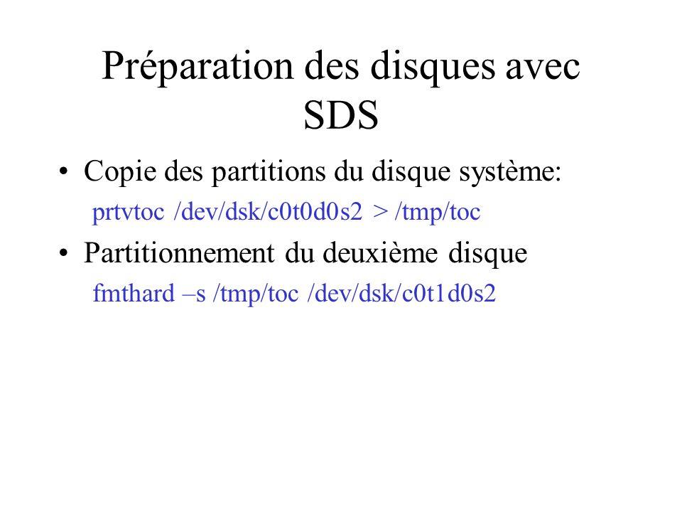 Préparation des disques avec SDS Copie des partitions du disque système: prtvtoc /dev/dsk/c0t0d0s2 > /tmp/toc Partitionnement du deuxième disque fmthard –s /tmp/toc /dev/dsk/c0t1d0s2