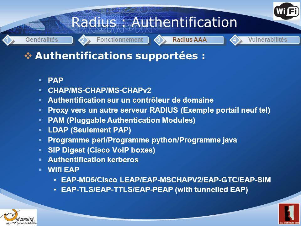 Radius : Authentification Généralités1Fonctionnement2Radius AAA3Vulnérabilités4 Authentifications supportées : PAP CHAP/MS-CHAP/MS-CHAPv2 Authentification sur un contrôleur de domaine Proxy vers un autre serveur RADIUS (Exemple portail neuf tel) PAM (Pluggable Authentication Modules) LDAP (Seulement PAP) Programme perl/Programme python/Programme java SIP Digest (Cisco VoIP boxes) Authentification kerberos Wifi EAP EAP-MD5/Cisco LEAP/EAP-MSCHAPV2/EAP-GTC/EAP-SIM EAP-TLS/EAP-TTLS/EAP-PEAP (with tunnelled EAP)