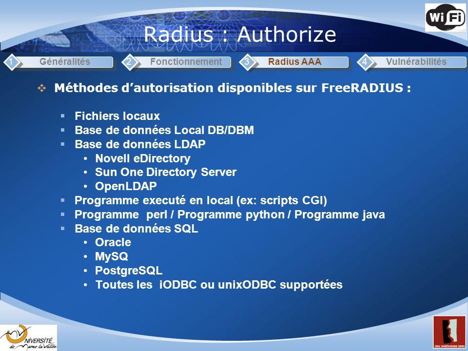 Radius : Authorize Généralités1Fonctionnement2Radius AAA3Vulnérabilités4 Méthodes dautorisation disponibles sur FreeRADIUS : Fichiers locaux Base de données Local DB/DBM Base de données LDAP Novell eDirectory Sun One Directory Server OpenLDAP Programme executé en local (ex: scripts CGI) Programme perl / Programme python / Programme java Base de données SQL Oracle MySQ PostgreSQL Toutes les iODBC ou unixODBC supportées