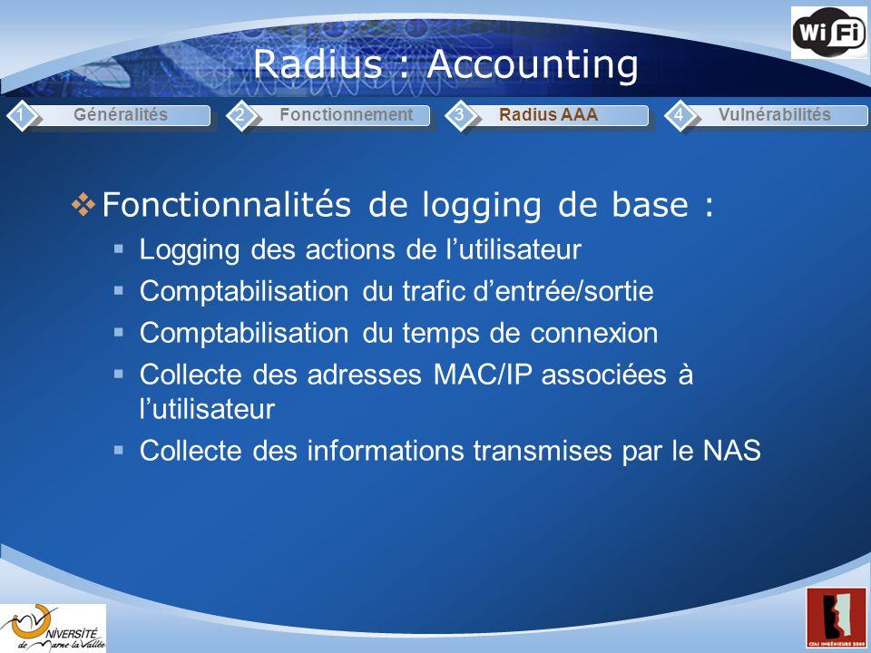 Radius : Accounting Généralités1Fonctionnement2Radius AAA3Vulnérabilités4 Fonctionnalités de logging de base : Logging des actions de lutilisateur Comptabilisation du trafic dentrée/sortie Comptabilisation du temps de connexion Collecte des adresses MAC/IP associées à lutilisateur Collecte des informations transmises par le NAS