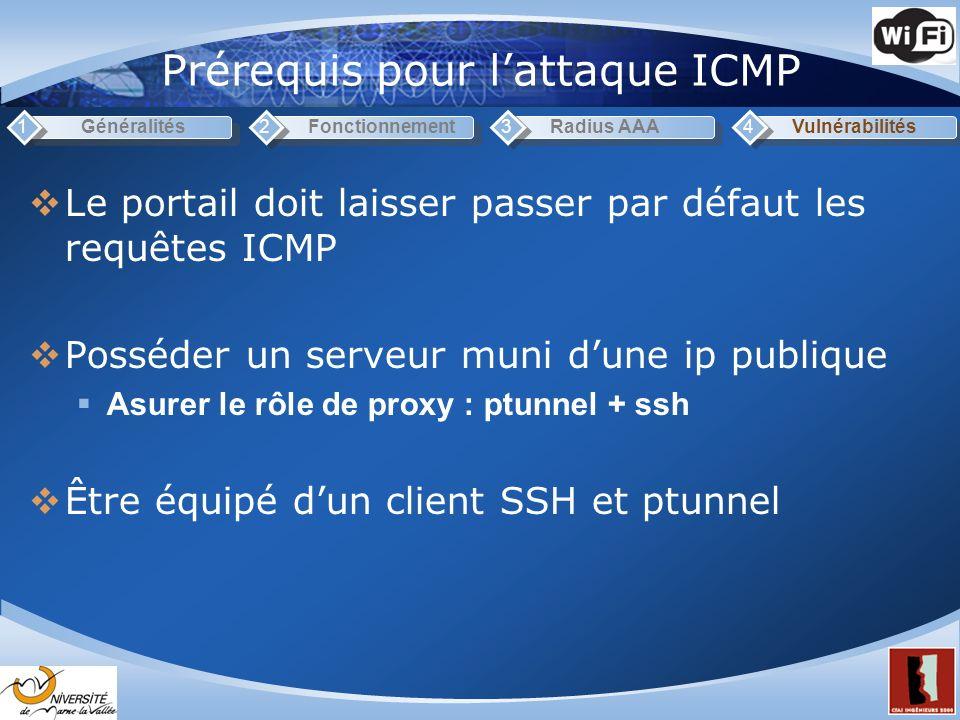 Prérequis pour lattaque ICMP Généralités1Fonctionnement2Radius AAA3Vulnérabilités4 Le portail doit laisser passer par défaut les requêtes ICMP Posséder un serveur muni dune ip publique Asurer le rôle de proxy : ptunnel + ssh Être équipé dun client SSH et ptunnel