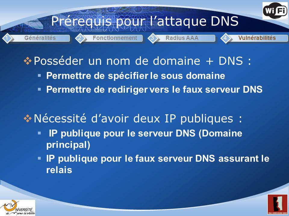 Prérequis pour lattaque DNS Généralités1Fonctionnement2Radius AAA3Vulnérabilités4 Posséder un nom de domaine + DNS : Permettre de spécifier le sous domaine Permettre de rediriger vers le faux serveur DNS Nécessité davoir deux IP publiques : IP publique pour le serveur DNS (Domaine principal) IP publique pour le faux serveur DNS assurant le relais