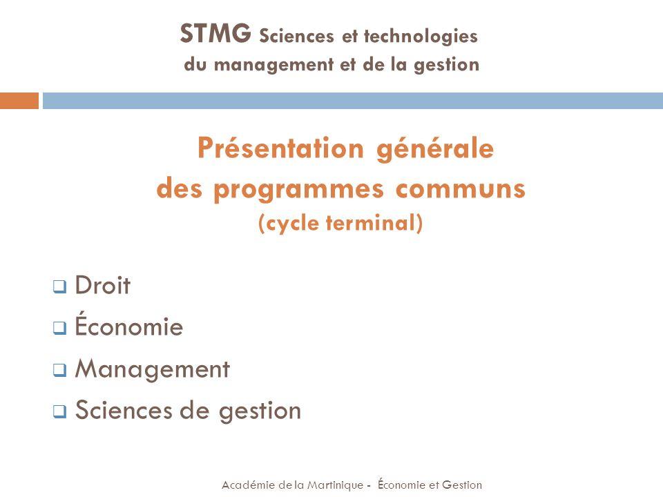 DROIT Académie de la Martinique - Économie et Gestion STMG Sciences et technologies du management et de la gestion