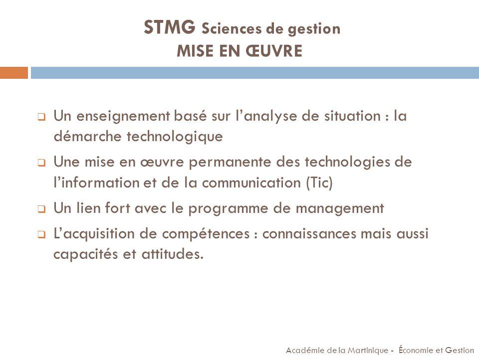 STMG Sciences de gestion MISE EN ŒUVRE Un enseignement basé sur lanalyse de situation : la démarche technologique Une mise en œuvre permanente des tec