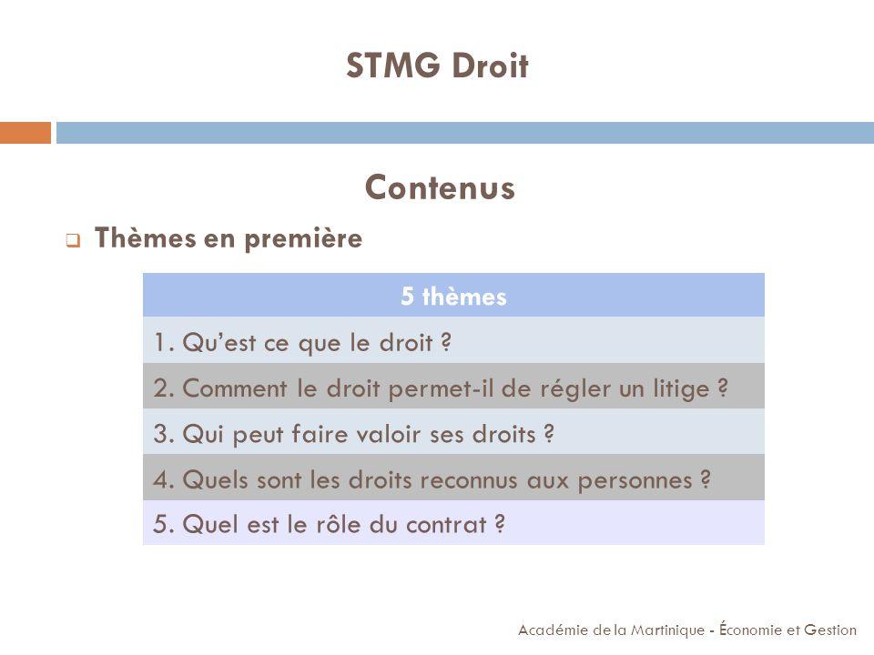Contenus Thèmes en première Académie de la Martinique - Économie et Gestion STMG Droit 5 thèmes 1. Quest ce que le droit ? 2. Comment le droit permet-