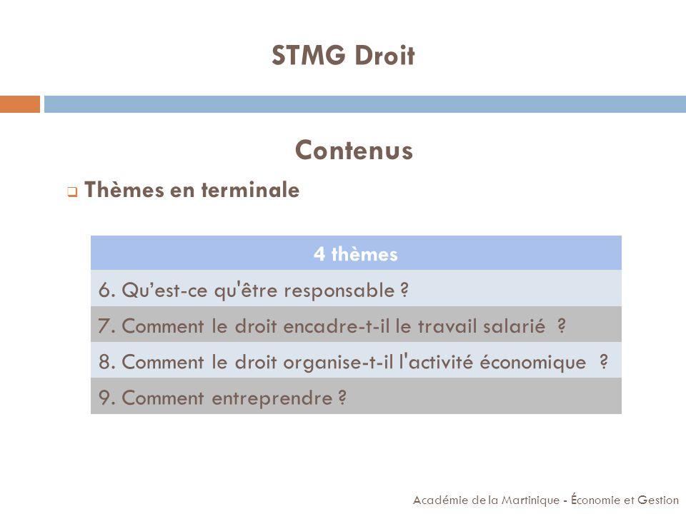 É CONOMIE Académie de la Martinique - Économie et Gestion STMG Sciences et technologies du management et de la gestion