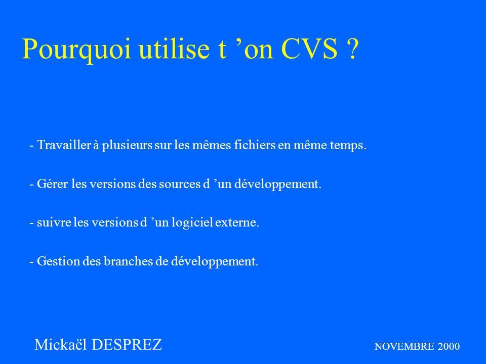 Question : ? Mickaël DESPREZ NOVEMBRE 2000