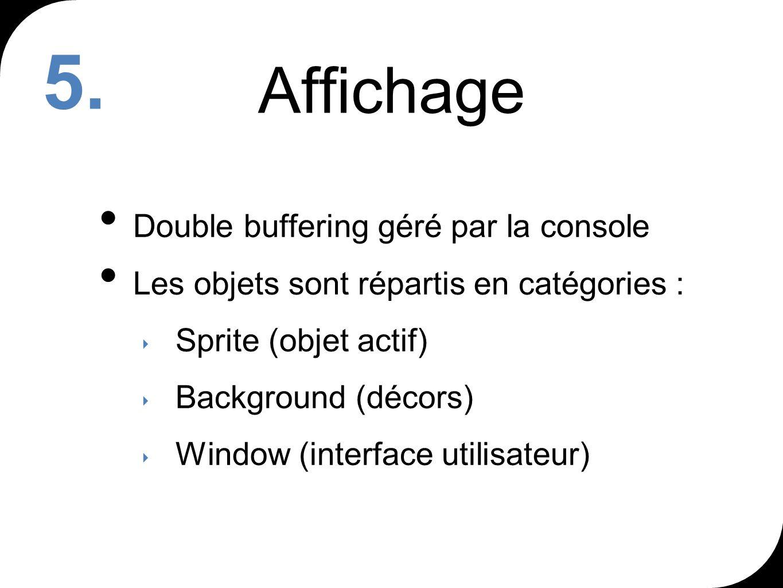 Affichage Double buffering géré par la console Les objets sont répartis en catégories : Sprite (objet actif) Background (décors) Window (interface utilisateur) 5.