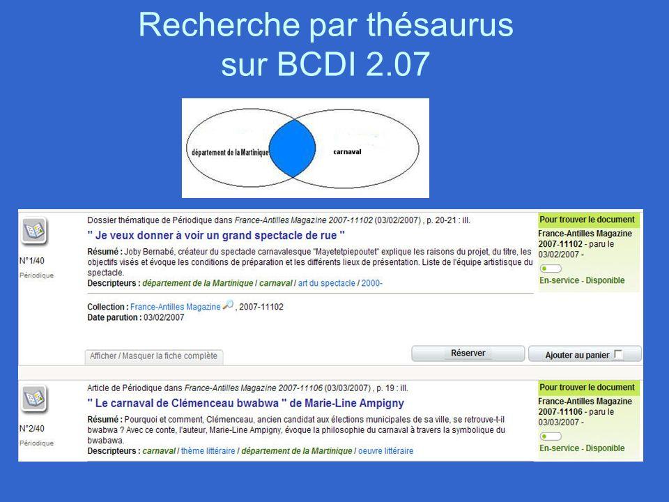 Recherche par thésaurus sur BCDI 2.07
