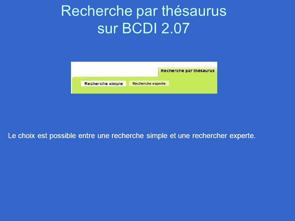 Recherche par thésaurus sur BCDI 2.07 Le choix est possible entre une recherche simple et une rechercher experte.