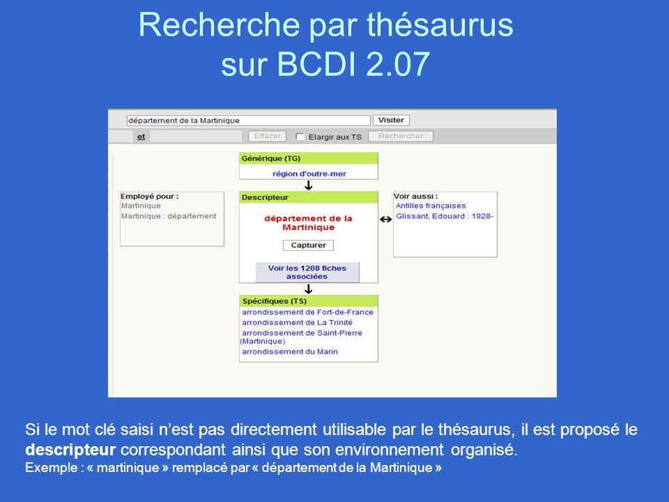 Recherche par thésaurus sur BCDI 2.07 Si le mot clé saisi nest pas directement utilisable par le thésaurus, il est proposé le descripteur correspondan