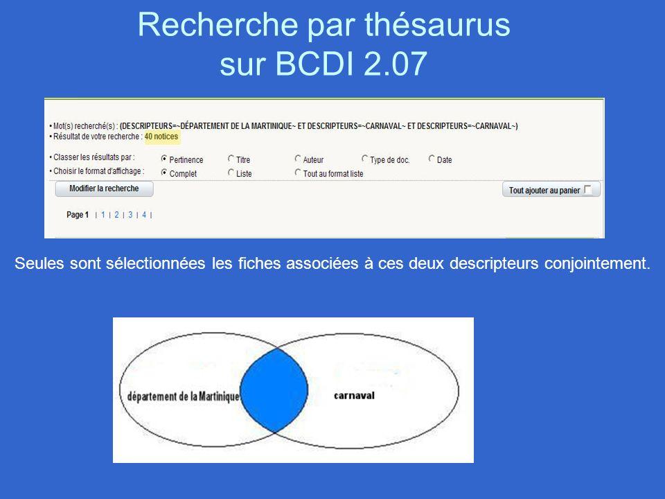 Recherche par thésaurus sur BCDI 2.07 Seules sont sélectionnées les fiches associées à ces deux descripteurs conjointement.