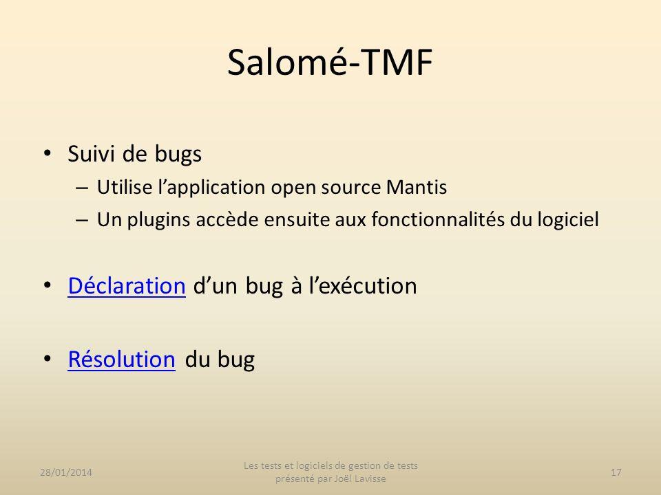Suivi de bugs – Utilise lapplication open source Mantis – Un plugins accède ensuite aux fonctionnalités du logiciel Déclaration dun bug à lexécution D