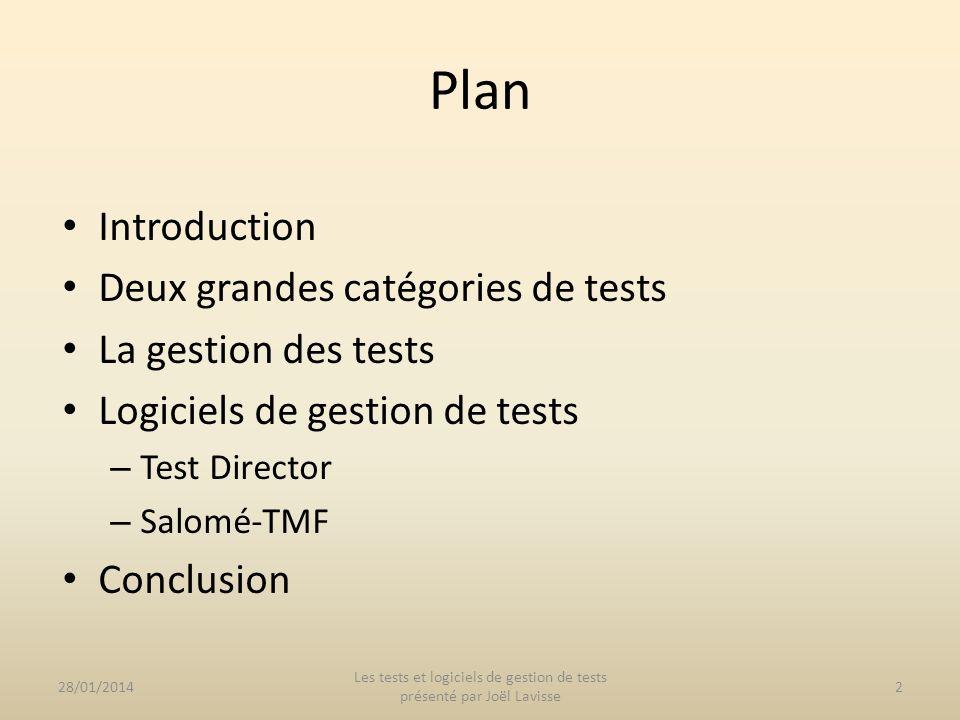 Introduction Deux grandes catégories de tests La gestion des tests Logiciels de gestion de tests – Test Director – Salomé-TMF Conclusion Plan 28/01/20