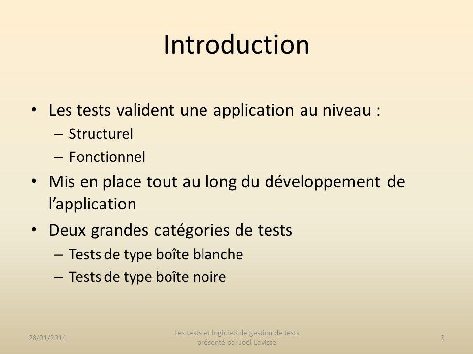 Les tests valident une application au niveau : – Structurel – Fonctionnel Mis en place tout au long du développement de lapplication Deux grandes caté