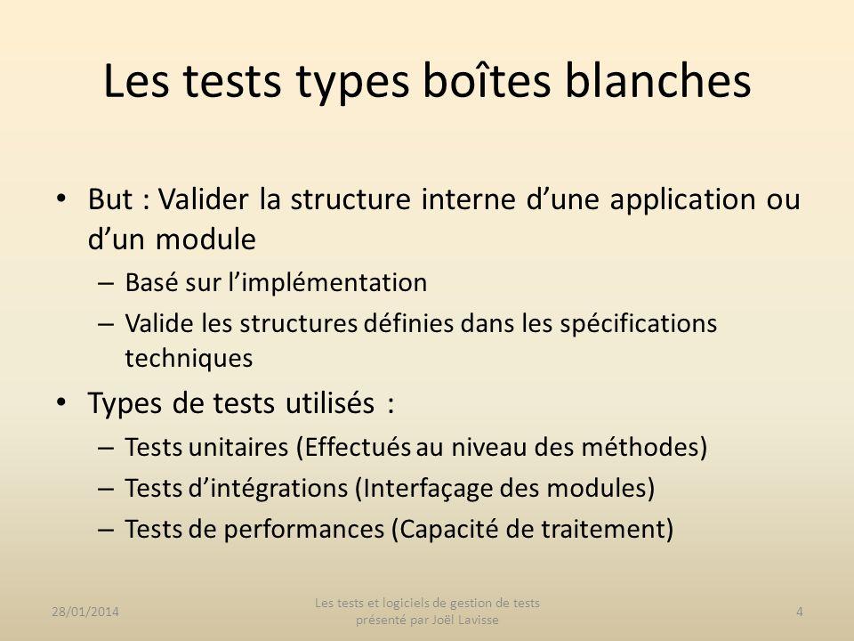 But : Valider la structure interne dune application ou dun module – Basé sur limplémentation – Valide les structures définies dans les spécifications