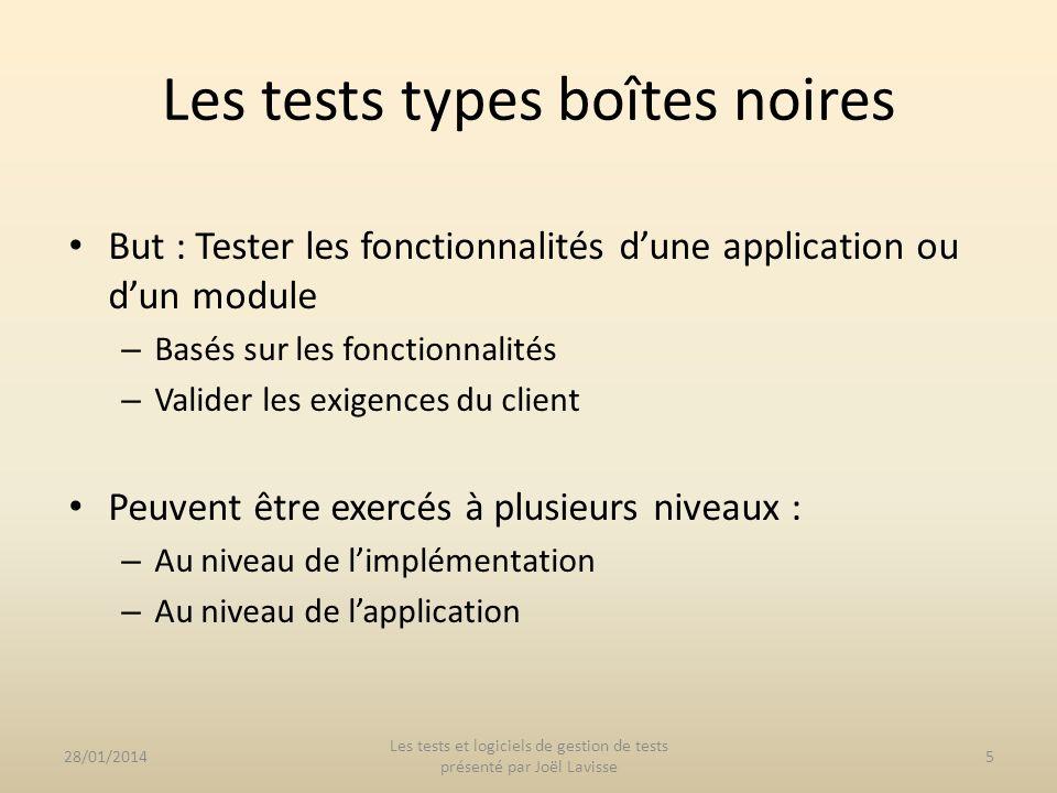 But : Tester les fonctionnalités dune application ou dun module – Basés sur les fonctionnalités – Valider les exigences du client Peuvent être exercés