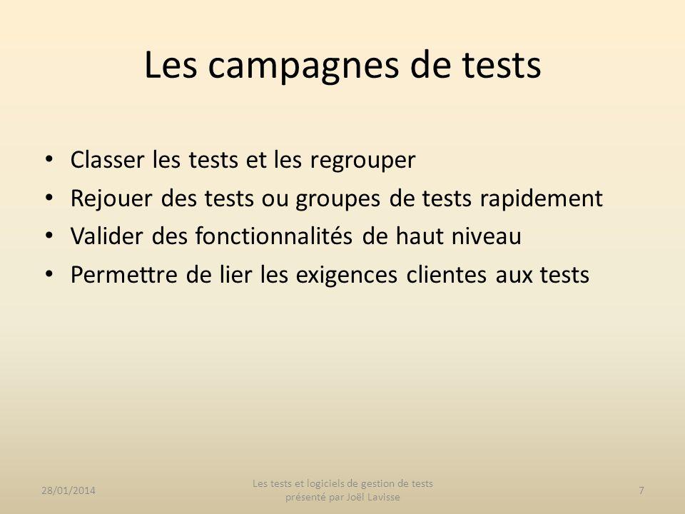 Classer les tests et les regrouper Rejouer des tests ou groupes de tests rapidement Valider des fonctionnalités de haut niveau Permettre de lier les e