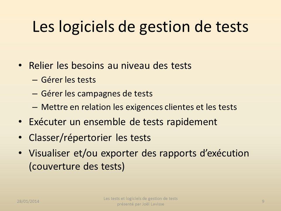 Suite doutils Mercury : HP Test Director Salomé-TMF et ses plugins 28/01/201410 Les tests et logiciels de gestion de tests présenté par Joël Lavisse Les logiciels de gestion de tests
