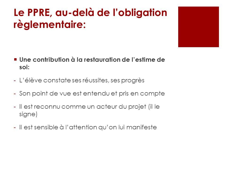 Le PPRE, au-delà de lobligation règlementaire: Une contribution à la restauration de lestime de soi: -Lélève constate ses réussites, ses progrès -Son