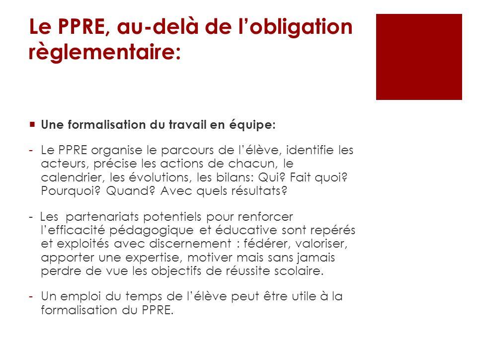 Le PPRE, au-delà de lobligation règlementaire: Une formalisation du travail en équipe: -Le PPRE organise le parcours de lélève, identifie les acteurs,