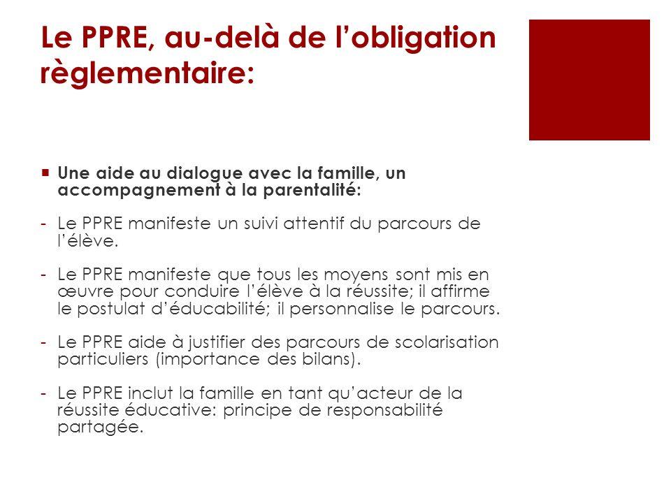 Le PPRE, au-delà de lobligation règlementaire: Une aide au dialogue avec la famille, un accompagnement à la parentalité: -Le PPRE manifeste un suivi a