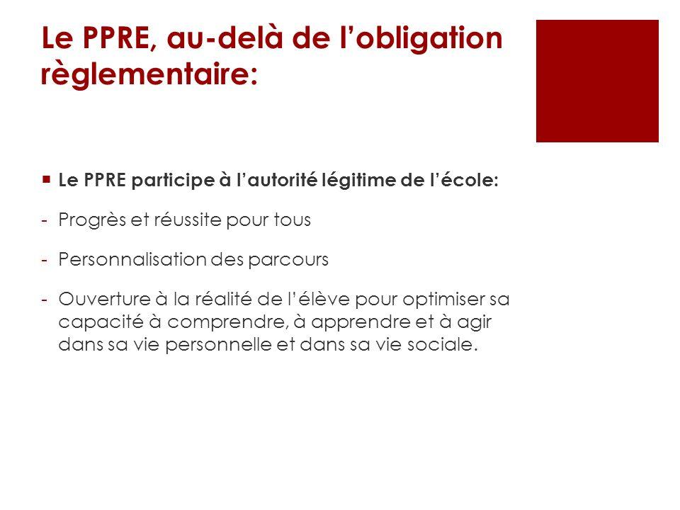 Le PPRE, au-delà de lobligation règlementaire: Le PPRE participe à lautorité légitime de lécole: -Progrès et réussite pour tous -Personnalisation des