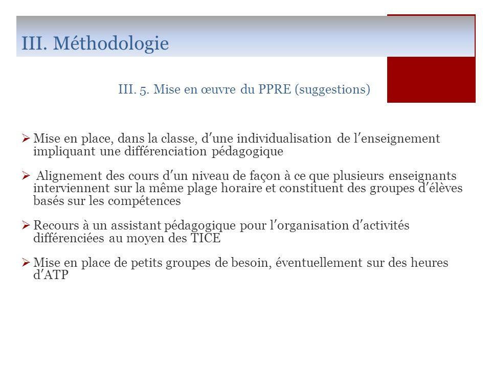 III. Méthodologie III. 5. Mise en œuvre du PPRE (suggestions) Mise en place, dans la classe, dune individualisation de lenseignement impliquant une di