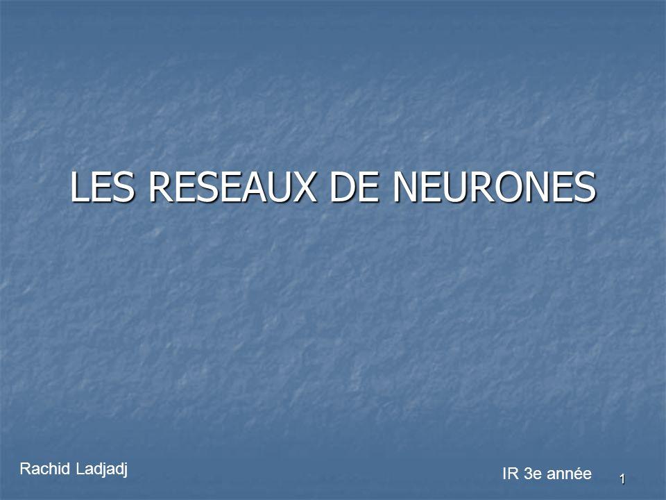 1 LES RESEAUX DE NEURONES Rachid Ladjadj IR 3e année