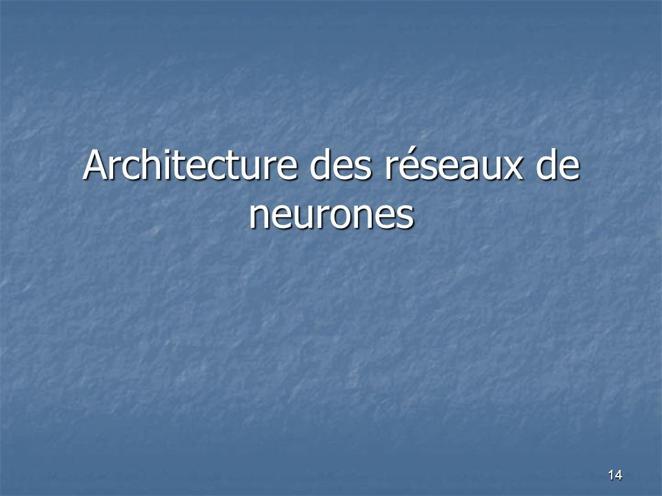 14 Architecture des réseaux de neurones