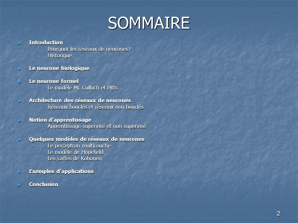 2 SOMMAIRE Introduction Introduction Pourquoi les réseaux de neurones.