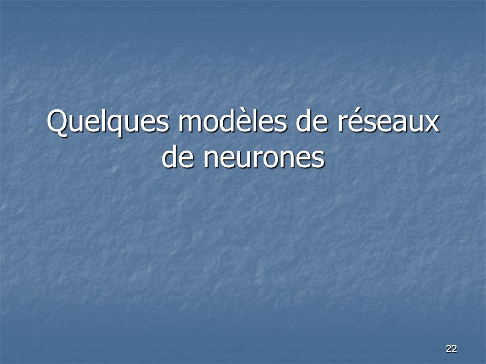 22 Quelques modèles de réseaux de neurones