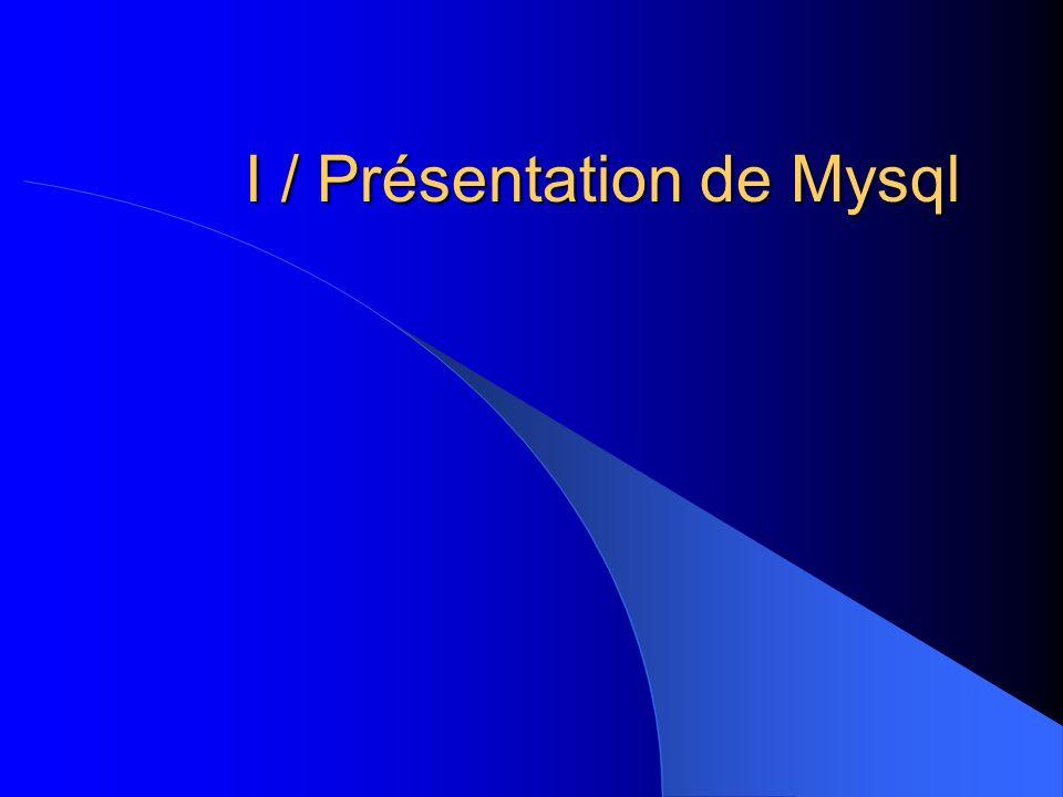 1) Historique En 94, M.Widenius crée un nouveau serveur basé sur les caractéristiques de msql.