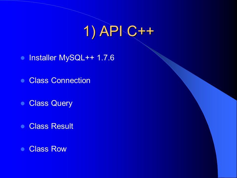 1) API C++ Installer MySQL++ 1.7.6 Class Connection Class Query Class Result Class Row
