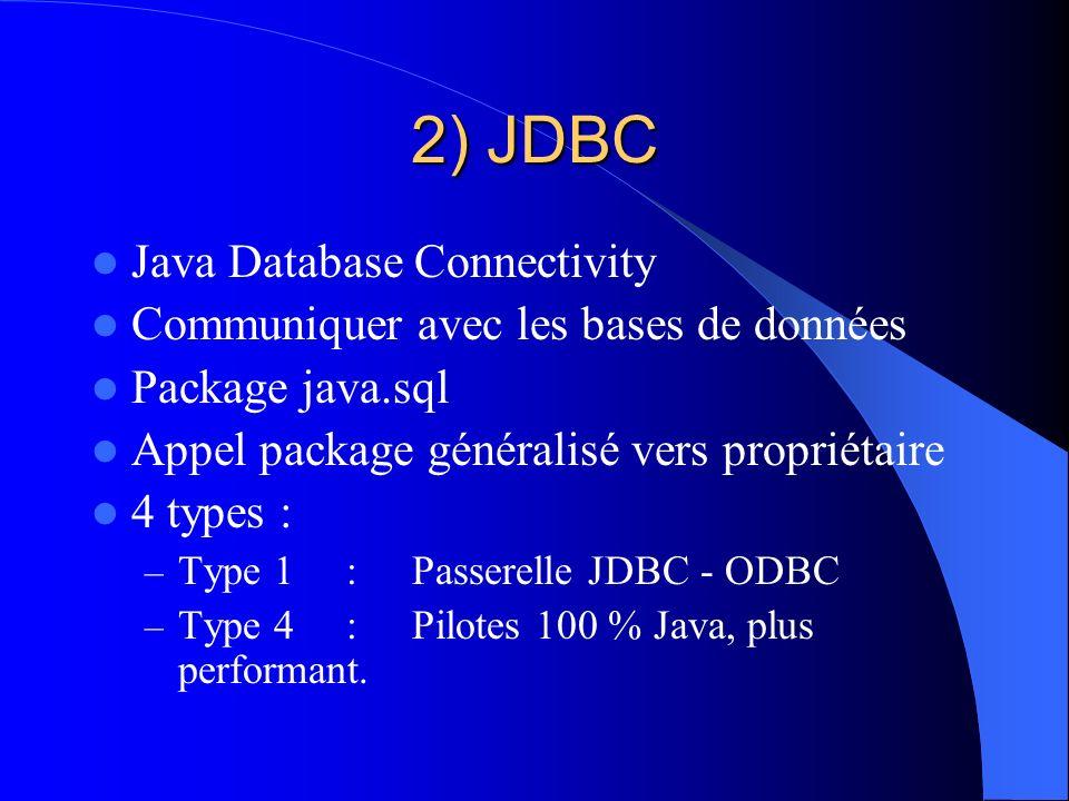 2) JDBC Java Database Connectivity Communiquer avec les bases de données Package java.sql Appel package généralisé vers propriétaire 4 types : – Type