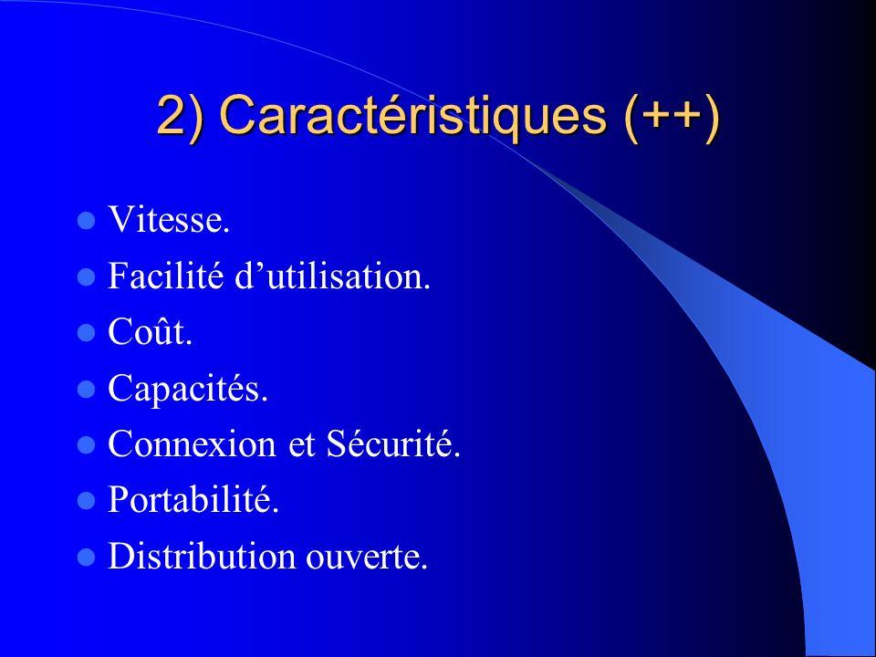 2) Caractéristiques (++) Vitesse. Facilité dutilisation. Coût. Capacités. Connexion et Sécurité. Portabilité. Distribution ouverte.