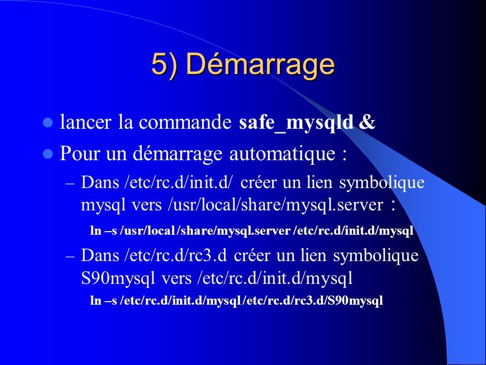 5) Démarrage lancer la commande safe_mysqld & Pour un démarrage automatique : – Dans /etc/rc.d/init.d/ créer un lien symbolique mysql vers /usr/local/