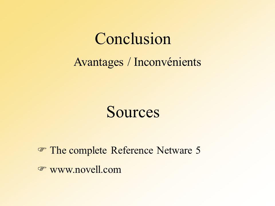 Conclusion Sources The complete Reference Netware 5 www.novell.com Avantages / Inconvénients