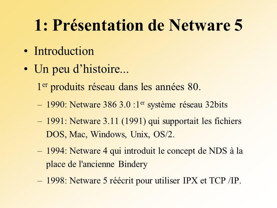 1: Présentation de Netware 5 Introduction Un peu dhistoire... 1 er produits réseau dans les années 80. –1990: Netware 386 3.0 :1 er système réseau 32b