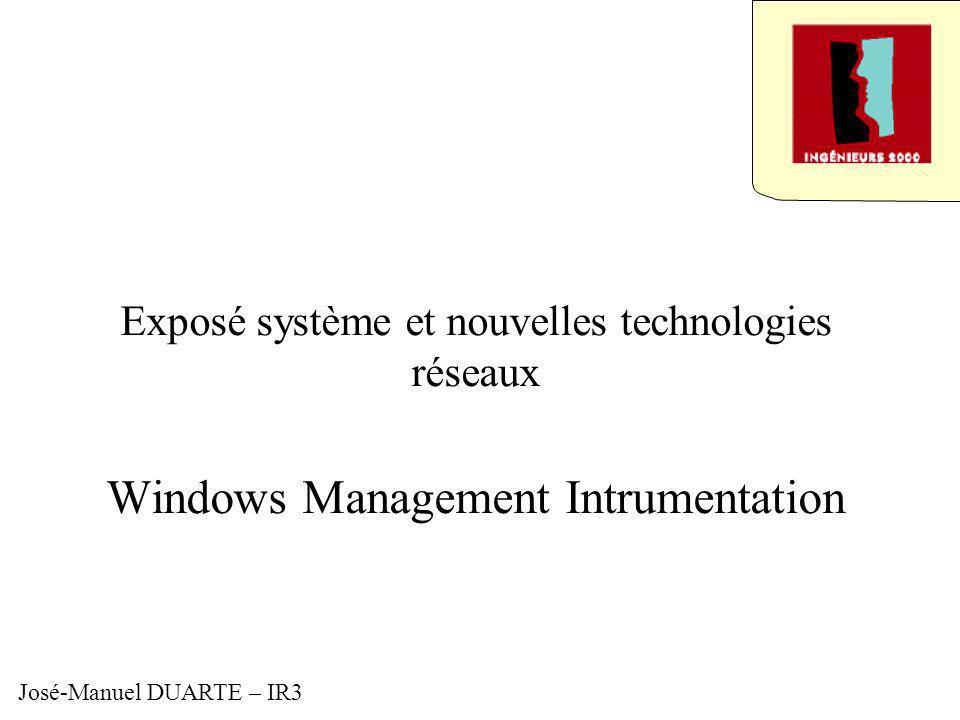 Exposé système et nouvelles technologies réseaux Windows Management Intrumentation José-Manuel DUARTE – IR3
