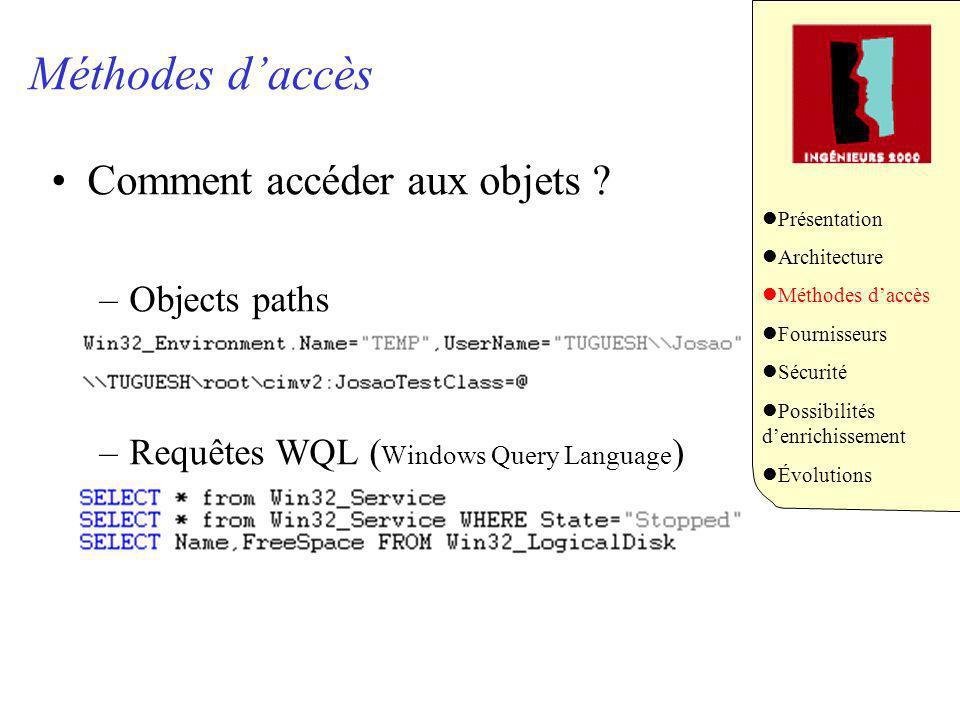 Méthodes daccès Comment accéder aux objets ? –Objects paths –Requêtes WQL ( Windows Query Language ) Présentation Architecture Méthodes daccès Fournis