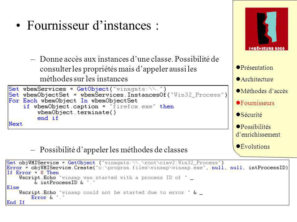 Fournisseur dinstances : –Donne accès aux instances dune classe.