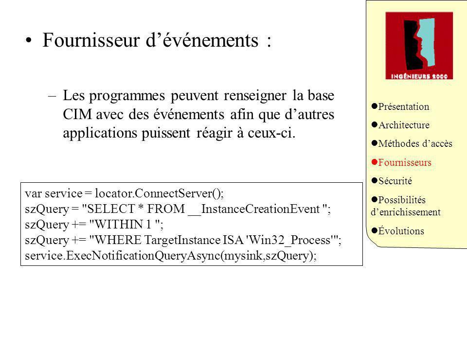 Fournisseur dévénements : –Les programmes peuvent renseigner la base CIM avec des événements afin que dautres applications puissent réagir à ceux-ci.