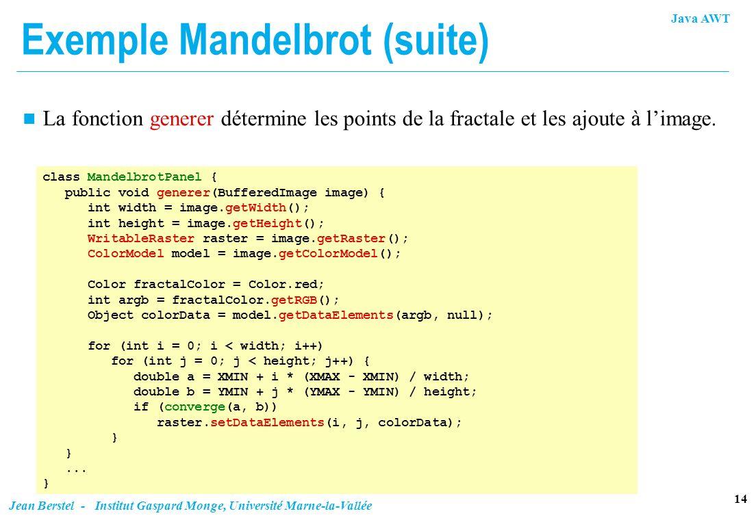 Java AWT 14 Jean Berstel - Institut Gaspard Monge, Université Marne-la-Vallée Exemple Mandelbrot (suite) n La fonction generer détermine les points de