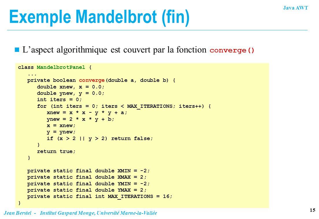 Java AWT 15 Jean Berstel - Institut Gaspard Monge, Université Marne-la-Vallée Exemple Mandelbrot (fin) Laspect algorithmique est couvert par la foncti