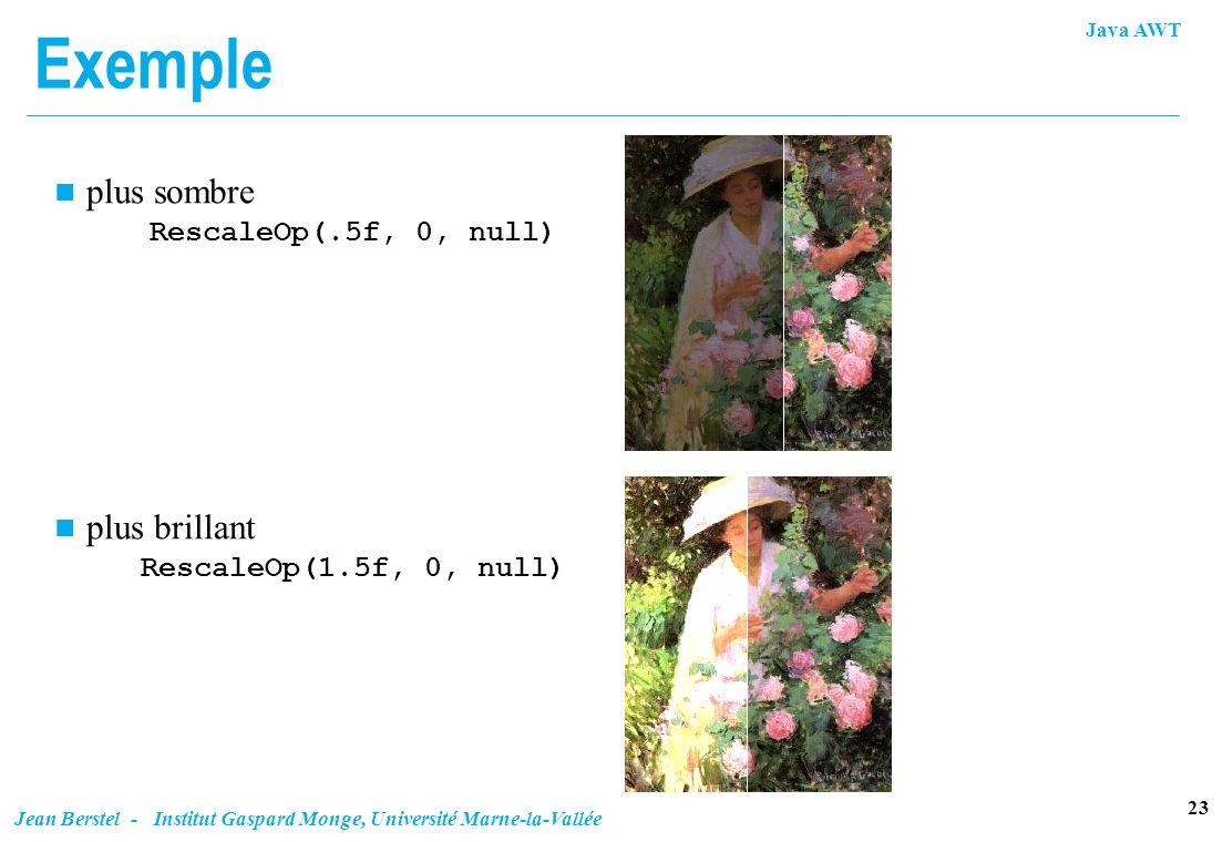 Java AWT 23 Jean Berstel - Institut Gaspard Monge, Université Marne-la-Vallée Exemple plus sombre RescaleOp(.5f, 0, null) plus brillant RescaleOp(1.5f