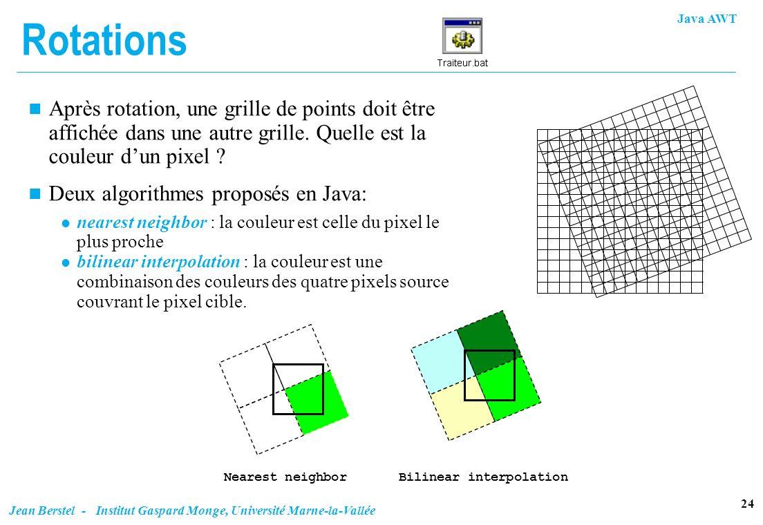 Java AWT 24 Jean Berstel - Institut Gaspard Monge, Université Marne-la-Vallée Rotations n Après rotation, une grille de points doit être affichée dans